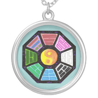 Painted Ba-Gua Round Pendant Necklace