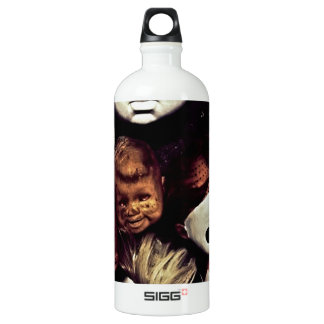 Painted baby doll heads aluminum water bottle