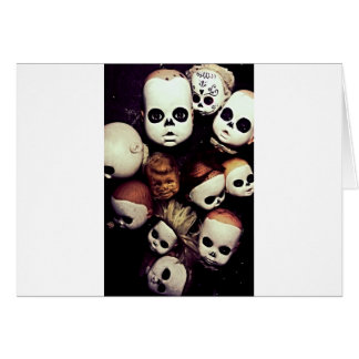 Painted baby doll heads card