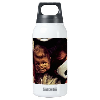 Painted baby doll heads insulated water bottle