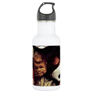 Painted baby doll heads water bottle