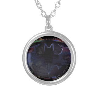 Painted Bat Symbol Silver Plated Necklace