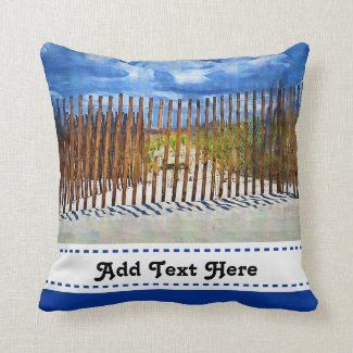 Painted Beach Sky Dune Fencing Pillow