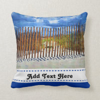 Painted Beach Sky Dune Fencing Throw Pillow
