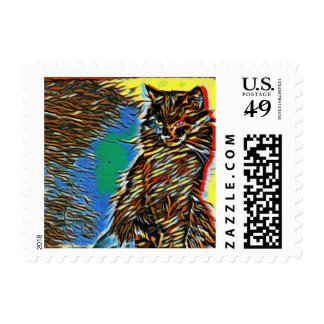 Painted Beauty Cat Stamp