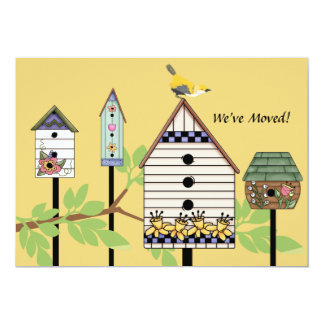 """Painted Birdhouses Moving Announcement 5"""" X 7"""" Invitation Card"""