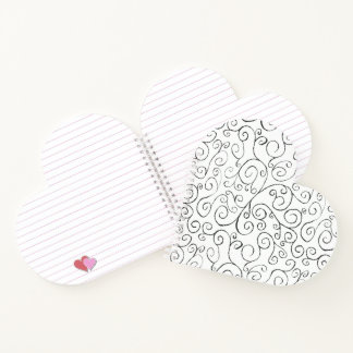 Painted Black Curvy Pattern on White Notebook