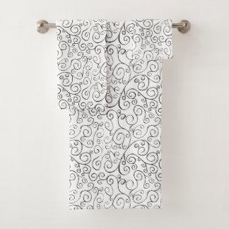 Painted Black Curvy Pattern on White Towel Set