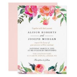 PAINTED BLOOMS Botanical Floral Wedding Invitation