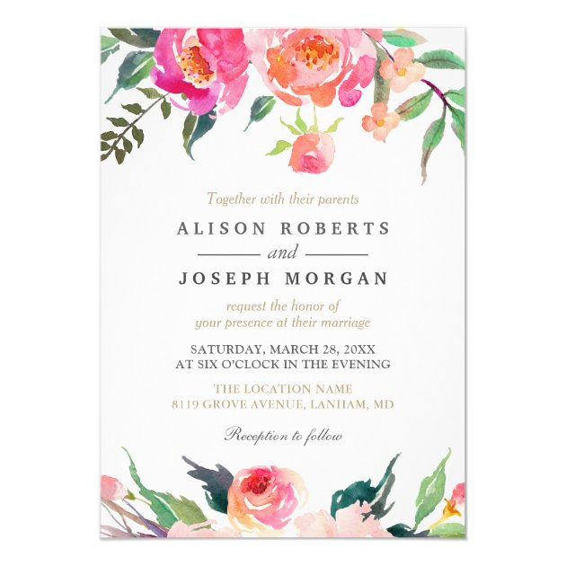 PAINTED BLOOMS Botanical Floral Wedding Invitation (back side)