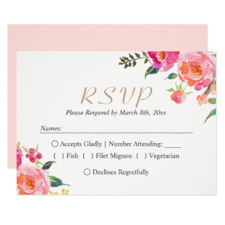 PAINTED BLOOMS Botanical Floral Wedding RSVP Card