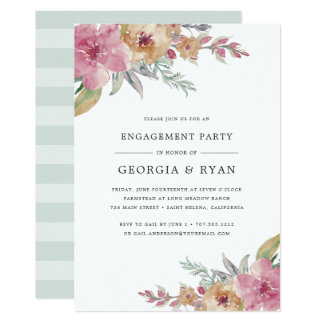 Painted Blooms Engagement Party Invitation