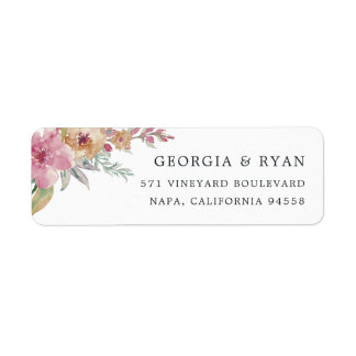 Painted Blooms Return Address Label