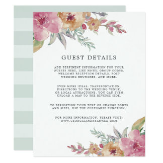 Painted Blooms Wedding Guest Details Card