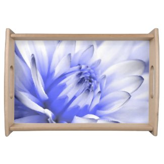 Painted Blue and White Flower Serving Platter