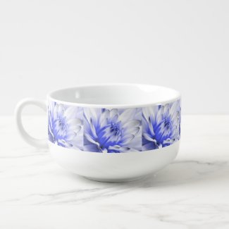 Painted Blue and White Flower Soup Bowl With Handle