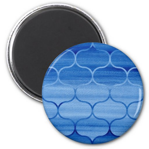 Painted Blue Geometric Ogee Design Magnet