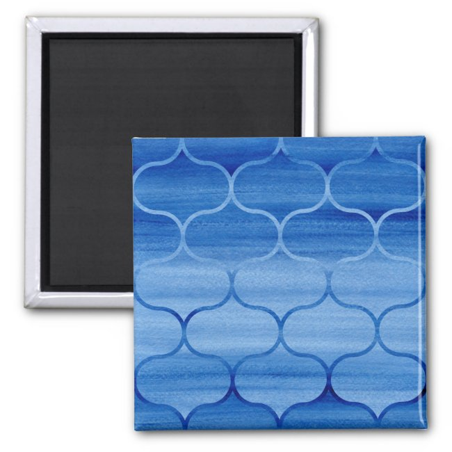 Painted Blue Geometric Ogee Design