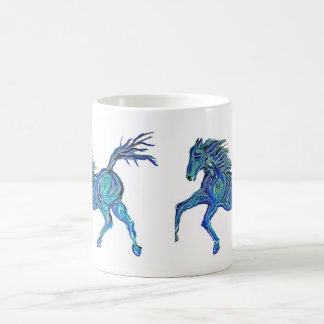 Painted Blue Horse Classic White Coffee Mug