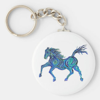 Painted Blue Horse Keychain