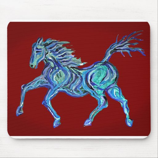 Painted Blue Horse Mouse Pad