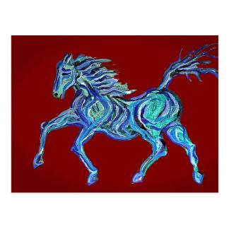 Painted Blue Horse Postcard