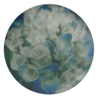 Painted Blue Hydrangea Plate