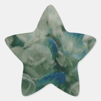 Painted Blue Hydrangea Star Sticker