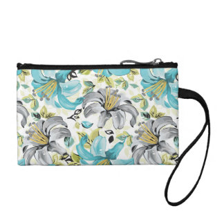 Painted Blue Lilies Pattern Change Purse