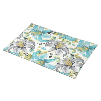 Painted Blue Lilies Pattern Placemat
