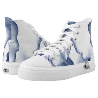Painted Blue Petals High-Top Sneakers