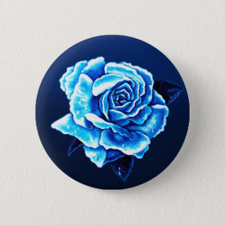 Painted Blue Rose Pinback Button