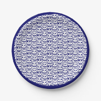 Painted Blue Skulls Paper Plate
