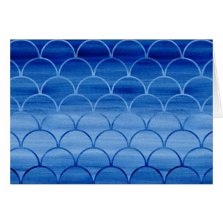 Painted Blue Watercolor Scale Pattern Birthday Card