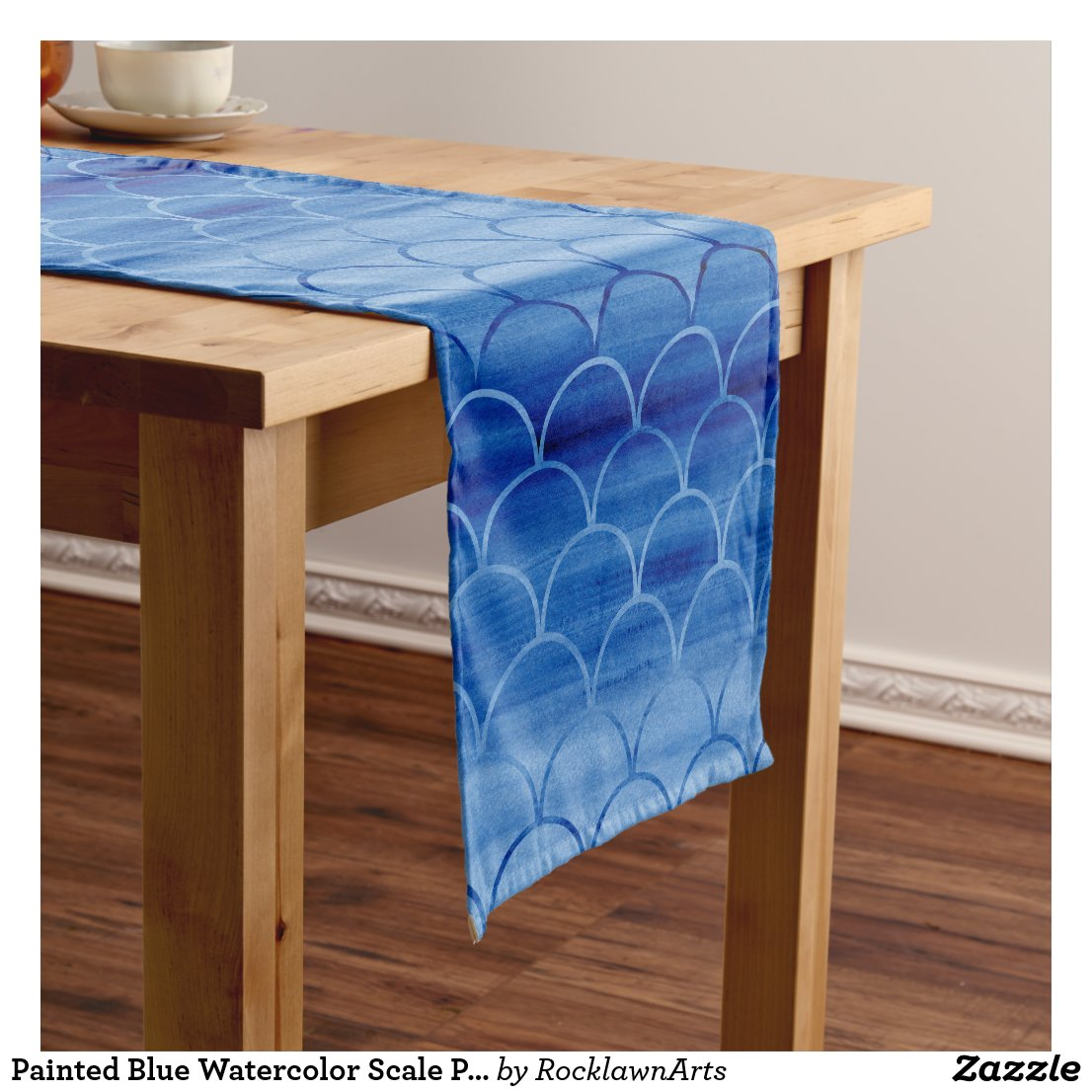 Painted Blue Watercolor Scale Pattern Short Table Runner