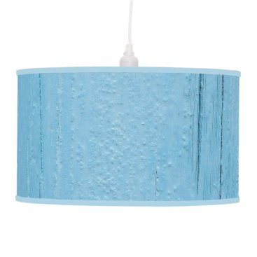 Painted Blue Wooden Beach Panel. Hanging Lamp