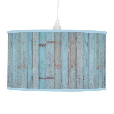 Beach Themed Painted Blue Wooden Beach Panel. Pendant Lamp