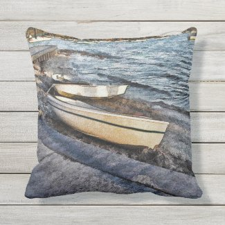 Painted Boats Outdoor Pillow