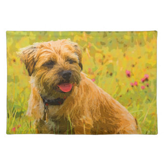 """Painted Border Terrier Dog, Placemats  20"""" x 14"""""""