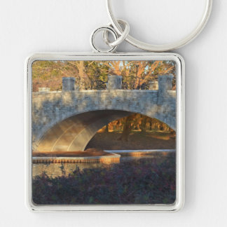 Painted Bridge at Sunset Silver-Colored Square Keychain