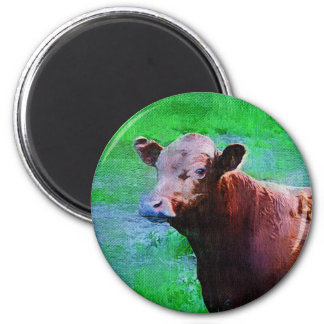 Painted Brown Cow 2 Inch Round Magnet