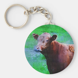 Painted Brown Cow Basic Round Button Keychain