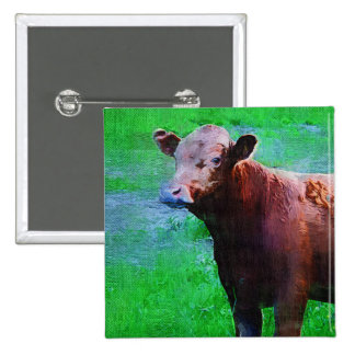 Painted Brown Cow Buttons