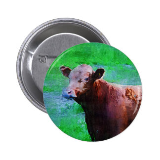 Painted Brown Cow Pinback Buttons