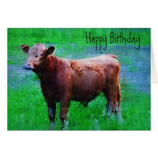 Painted Brown Cow Card