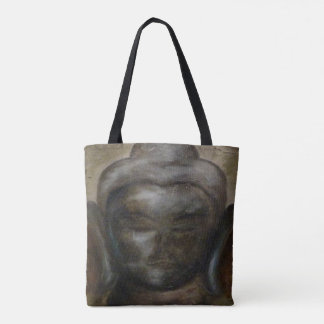 Painted buddha face tote bag