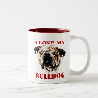 Painted Bulldog Face Mugs