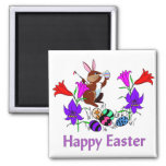 Painted Bunny Eggs 2 Inch Square Magnet