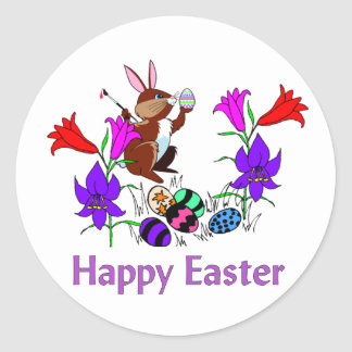 Painted Bunny Eggs Classic Round Sticker