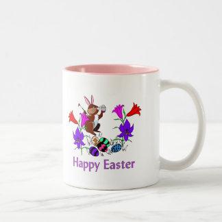 Painted Bunny Eggs Two-Tone Coffee Mug
